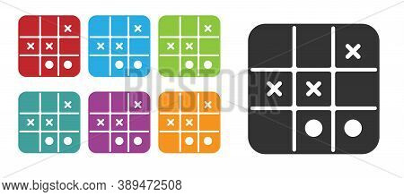 Black Tic Tac Toe Game Icon Isolated On White Background. Set Icons Colorful. Vector