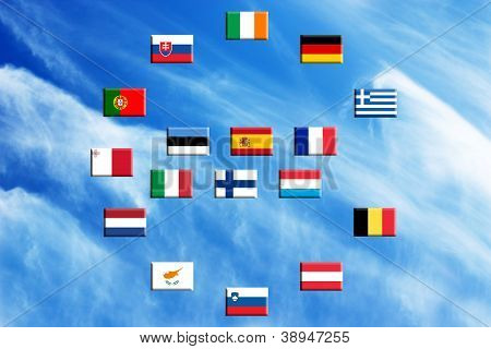 Flags Of Eurozone Countries Against The Sky