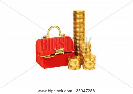 Red Chest And Columns Of Yellow Coins