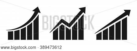 Growing Chart Icons. Isolated Business Progress. Financial Increase Symbol. Success Infographic. Pro