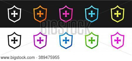 Set Shield Icon Isolated On Black And White Background. Guard Sign. Security, Safety, Protection, Pr