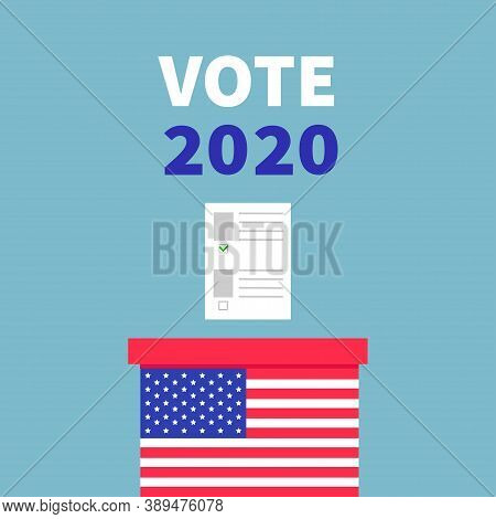 American Flag Ballot Voting Box With Paper Blank Bulletin Concept. President Election Day. Vote 2020