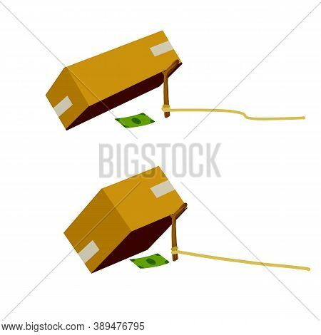 Cardboard Box And Trap. Children Practical Joke. Dollar And Pitfall. Business Problem. Stick On Rope