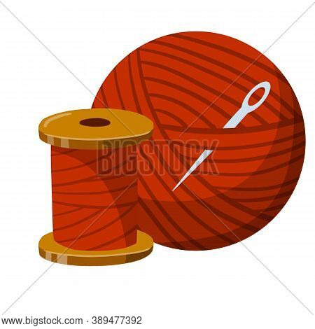 Embroidery And Needle. Coil And A Skein Of Red Thread. Crafts And Hobbies. Clothing Manufacturing An
