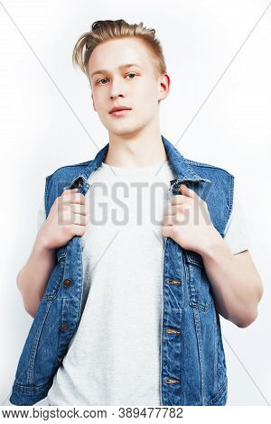 Young Handsome Teenage Hipster Guy Posing Emotional, Happy Smiling Against White Background Isolated