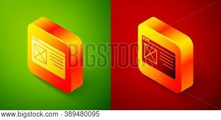 Isometric Browser Window Icon Isolated On Green And Red Background. Square Button. Vector