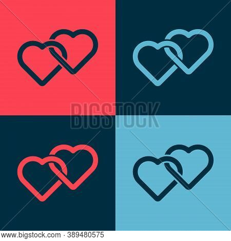 Pop Art Two Linked Hearts Icon Isolated On Color Background. Romantic Symbol Linked, Join, Passion A