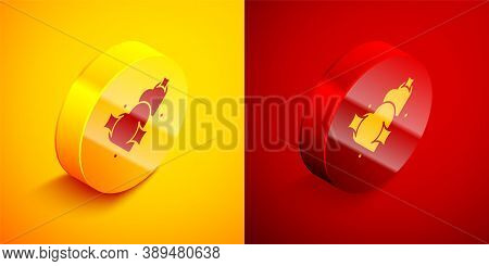 Isometric Two Linked Hearts Icon Isolated On Orange And Red Background. Romantic Symbol Linked, Join
