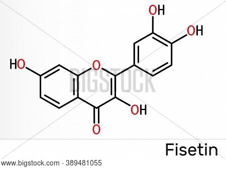 Fisetin Molecule. It Is Plant Flavonol From The Flavonoid Group Of Polyphenols. Skeletal Chemical Fo