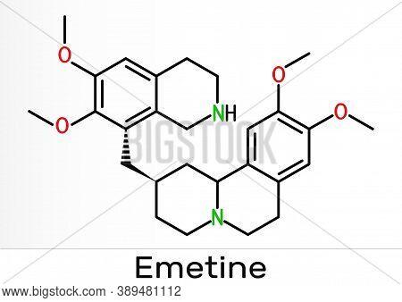 Emetine Molecule. It Is An Antiprotozoal Agent And Emetic. Skeletal Chemical Formula. Illustration