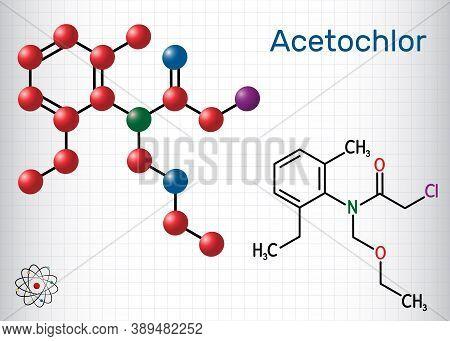 Acetochlor Molecule. It Is Chloroacetanilide, Herbicide, A Xenobiotic And An Environmental Contamina