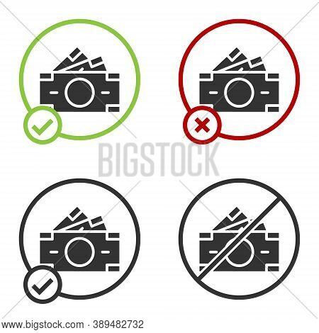 Black Stacks Paper Money Cash Icon Isolated On White Background. Money Banknotes Stacks. Bill Curren