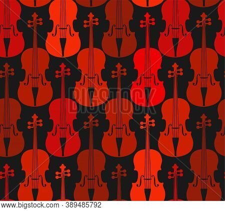 Violins, Red, Seamless Pattern. Red Violins On A Dark Field. Color, Flat Decor. Vector.