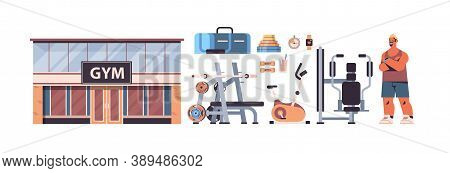 Sportswoman In Sportswear With Different Tools Icons Set Fitness Training Healthy Lifestyle Concept