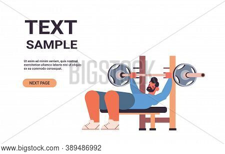 Sportsman Doing Bench Presss Workout With Barbell Fitness Training Healthy Lifestyle Concept Horizon