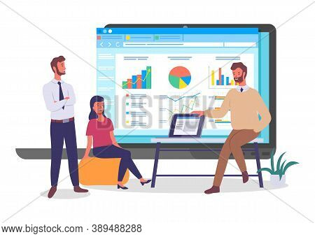 Programmers, Coders Or Businesspeople Analysing Data, Chart, Graphics, Infographics At Website, Youn