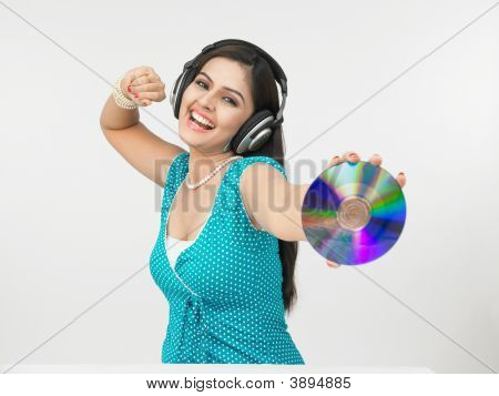 Asian Female Listening Music