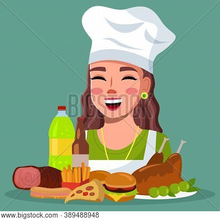Smiling Woman Cook With Unhealthy High-calories Delicious Food. Cheerful Girl Wearing Cook Hat With