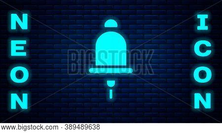 Glowing Neon Ringing Alarm Bell Icon Isolated On Brick Wall Background. Fire Alarm System. Service B