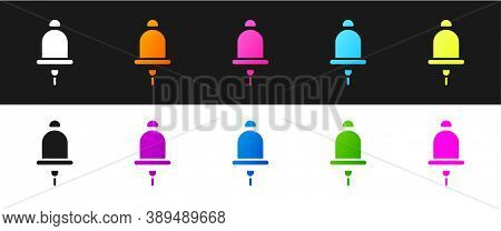 Set Ringing Alarm Bell Icon Isolated On Black And White Background. Fire Alarm System. Service Bell,