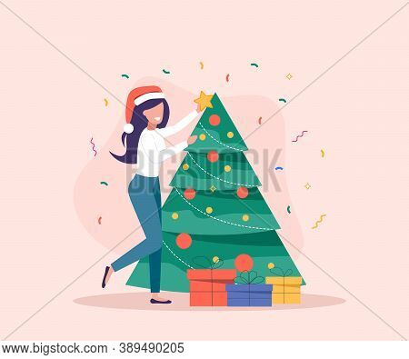 Woman decorate Christmas Tree. Gift boxes are near Christmas Tree. Merry Christmas card vector Illustration.Christmas. Christmas Vector. Christmas Background. Merry Christmas Vector. Merry Christmas banner. Christmas illustrations