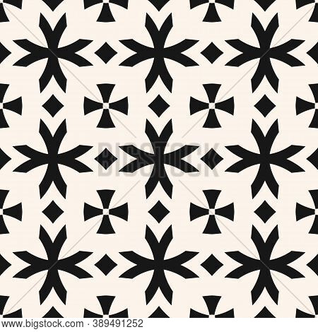Vector Geometric Seamless Pattern With Flower Shapes, Crosses, Diamonds. Black And White Floral Orna