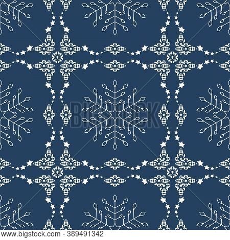Seamless Pattern Christmas Theme. Pretty Snowflakes And Frieze With Stars. Colors White And Blue. Ve