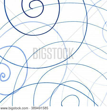 Blue Artistic Scribble Template. Random Pencil Drawing. Kid Chaotic Texture. Geometric Round Banner.