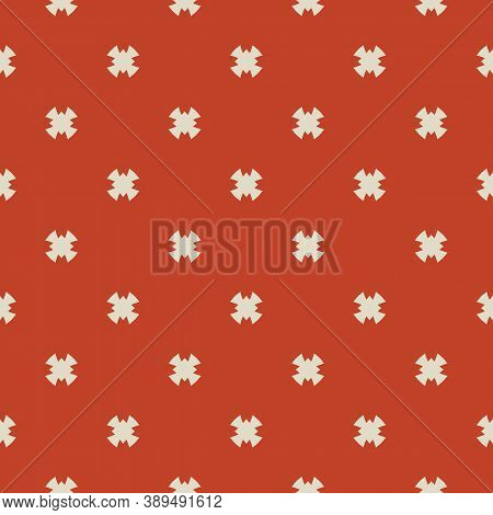 Simple Minimal Vector Seamless Pattern. Abstract Geometric Floral Background With Crosses, Small Flo