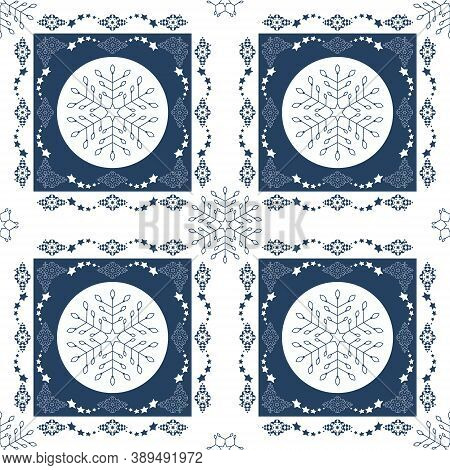 Seamless Pattern Christmas Theme. Pretty Snowflakes And Frieze With Stars. Blue And White. Vector Il