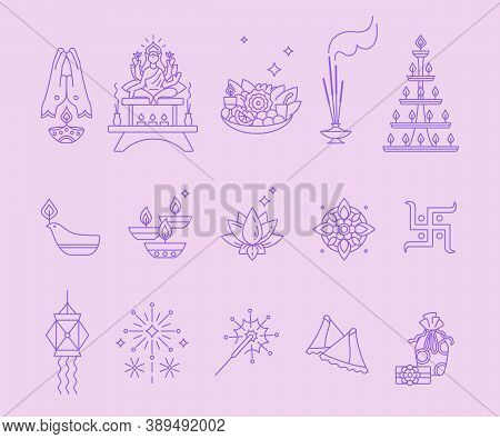 Diwali, Hindu Festival Of Lights - Set Of Outline Icons. Deepavali Symbols. Lamps Dipa, Sand Art Ran