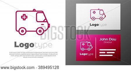 Logotype Line Ambulance And Emergency Car Icon Isolated On White Background. Ambulance Vehicle Medic