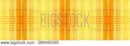 Orange Tartan Background. Watercolour Check Pattern. Woven Geometric Stripes For Twill Print. Seamle