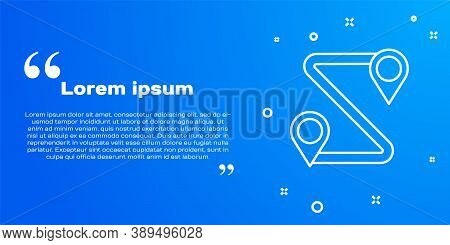 White Line Route Location Icon Isolated On Blue Background. Map Pointer Sign. Concept Of Path Or Roa