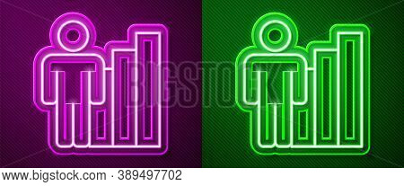 Glowing Neon Line Productive Human Icon Isolated On Purple And Green Background. Idea Work, Success,