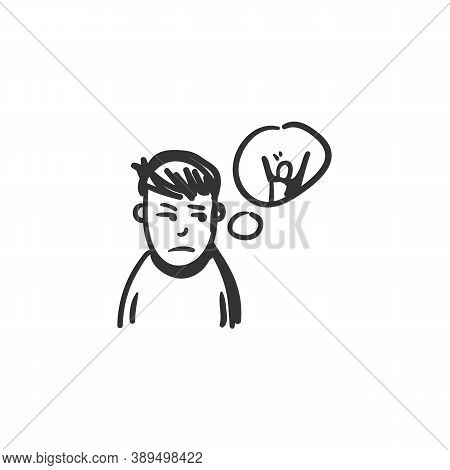 Envy Feeling Icon. Envying Man. Outline Sketch Drawing. Human Emotions And Feelings Concept. Jealous