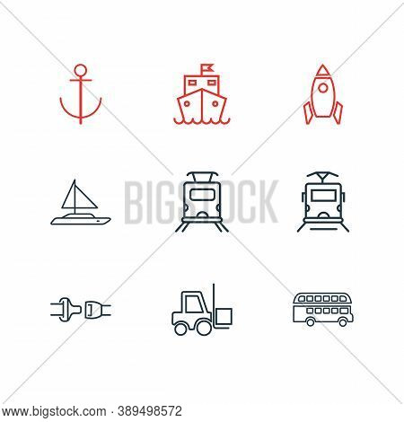 Vector Illustration Of 9 Transportation Icons Line Style. Editable Set Of Forklift, Double Decker Bu