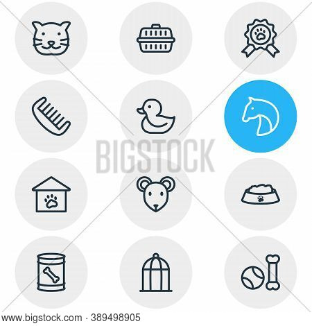 Vector Illustration Of 12 Zoo Icons Line Style. Editable Set Of Comb, Birdcage, Pet Toys And Other I