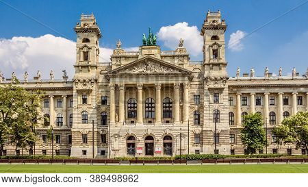Budapest, Hungary - July 23, 2015: Facade Of The Neprajzi Museum On Kossuth Square In Budapest, Hung