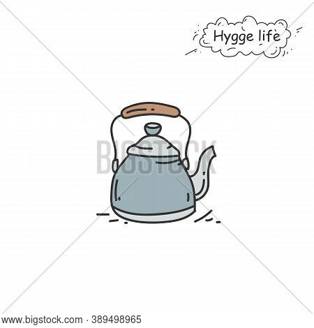 Tea Kettle Color Icon. Coziness, Hominess Atmosphere In Simple Things. Hygge Life. Cozy Home Concept