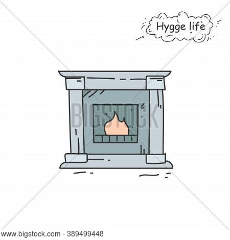 Fireplace Color Icon. Coziness, Hominess Atmosphere In Simple Things. Hygge Life. Cozy Home Concept.
