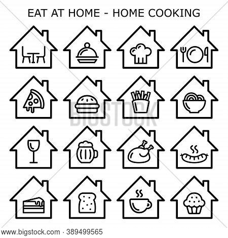 Eating At Home, Home Cooking Vector Icons Set, Staying In Concept,  Cooking Dinner Or Baking A Cake