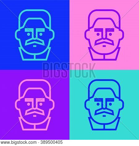 Pop Art Line Portrait Of Joseph Stalin Icon Isolated On Color Background. Vector
