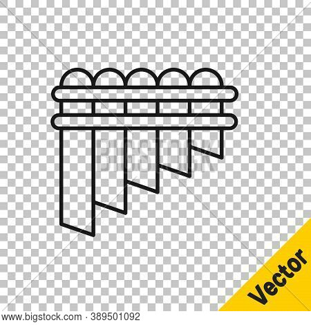 Black Line Pan Flute Icon Isolated On Transparent Background. Traditional Peruvian Musical Instrumen