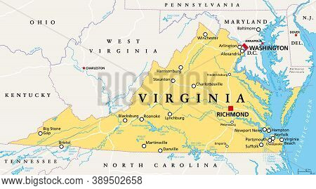 Virginia, Va, Political Map. Commonwealth Of Virginia. State In Southeastern And Mid-atlantic Region