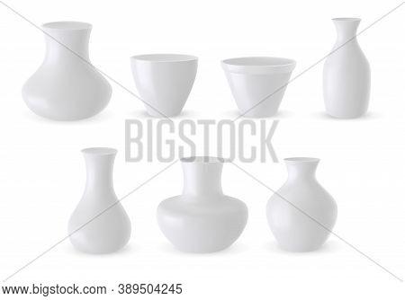 Vector Set Of Ceramic Vase 3d Models Isolated On White Background. White Pottery Vases Realistic Ill