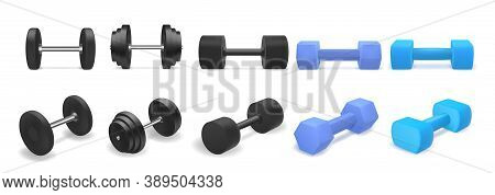 Vector Set Of Dumbbells Isolated On White Background. Realistic 3d Objects For Gym Or Fitness. Blue