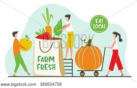 Vegetable And Fruits Farm Market Shop. Giant Fruits/vegetables. Small Tiny People Collect Order. Nat