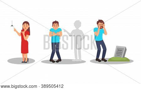 People Characters With Fear Of Spider And Burying Ground Vector Illustration Set
