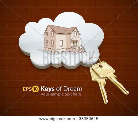 keys of dream house in the cloud vector illustration EPS10.